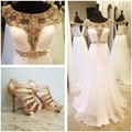 Long Elegant Prom Dresses 2016 Gold Beaded White Chiffon Handmade Party Dress Modest Sparkle Special Occasion Gowns