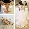 Longos Elegantes Vestidos de Baile 2016 Frisado Ouro Branco Chiffon Handmade Vestido de Festa Modest Faísca Vestidos para Ocasiões Especiais