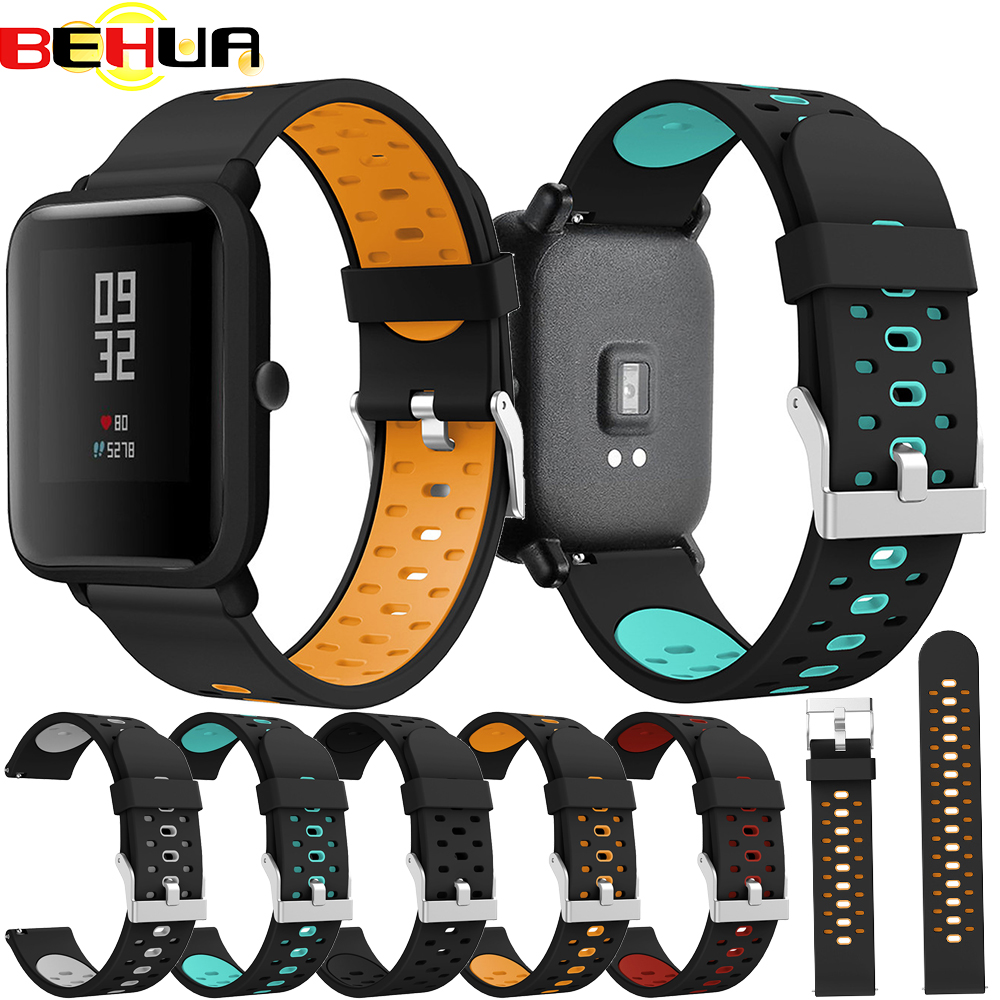 20mm Silicone Band Strap For Xiaomi Huami Amazfit Bip Youth Edition Smart Watch Replacement Band Sport Breathable Bracelet Belt