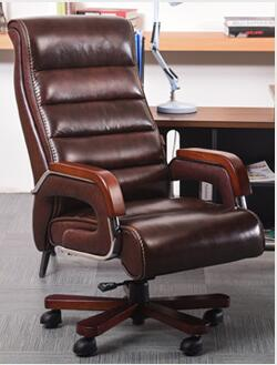 High-grade Leather Computer Chair Family Expenses Can Lie Down Massage Boss Swivel Chair Office Chair Seat.