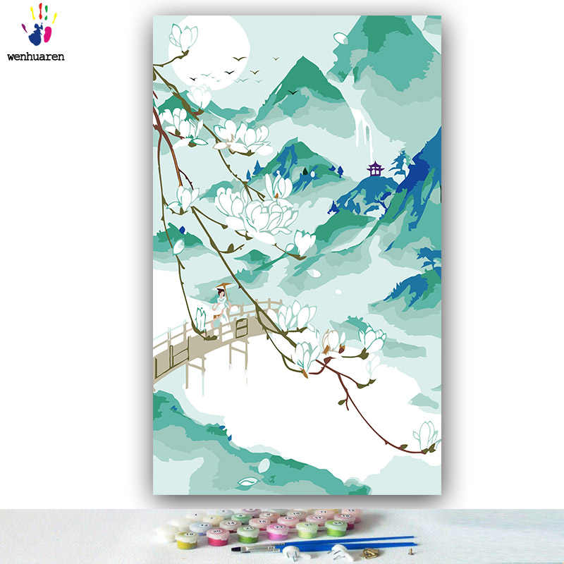 DIY colorings pictures by numbers with colors Chinese style scenery picture drawing painting by numbers framed Home