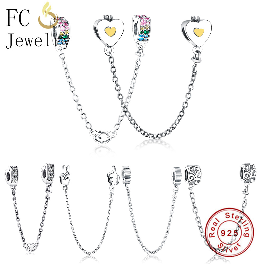 лучшая цена FC Jewelry Fit Original Pandora Charms Bracelets 925 Sterling Silver Heart Safety Chain With CZ Pendant Beads Berloque 2018 DIY