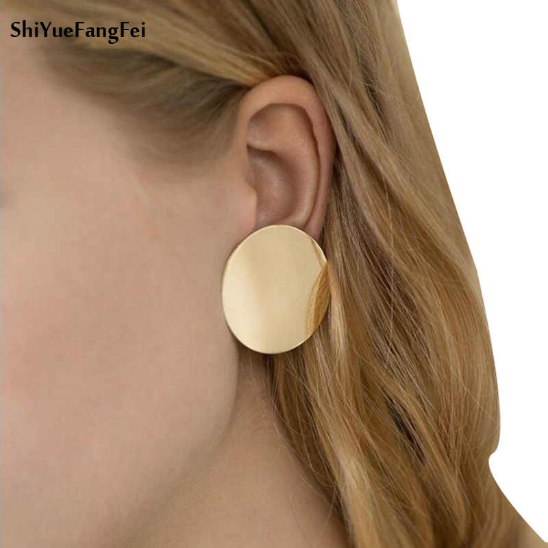 Fashion Statement earrings 2018  Geometric earrings For Women Gold Colour Hanging Stud Earrings Modern Jewelry