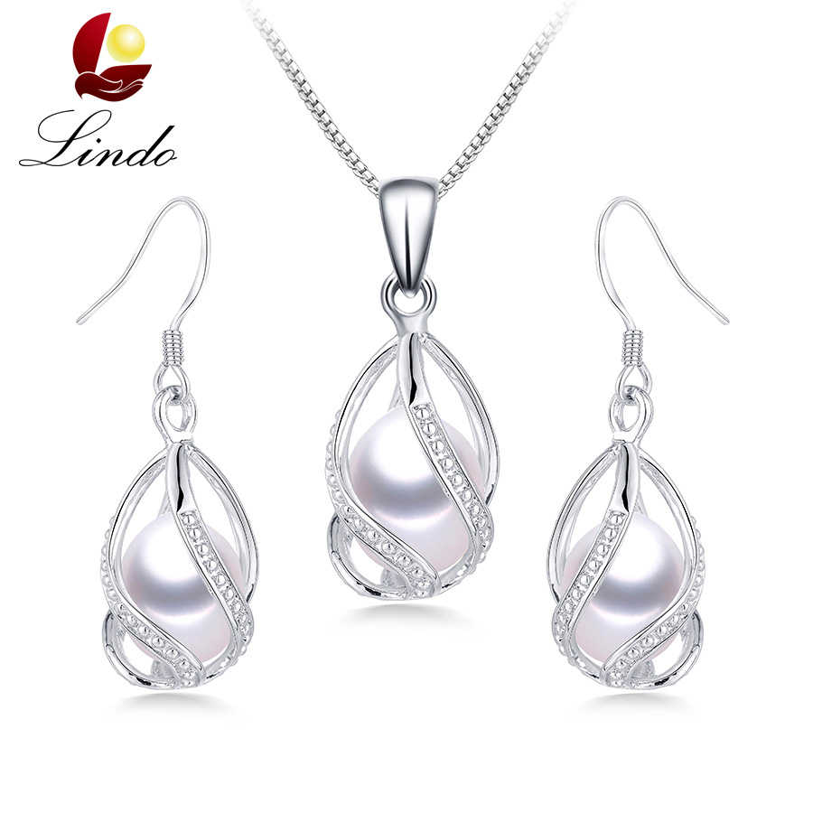 100% Natural Freshwater Pearl Jewelry Sets For Women Fashion 925 Sterling Silver Earrings+Pendant Wedding Jewelry With Box Lindo