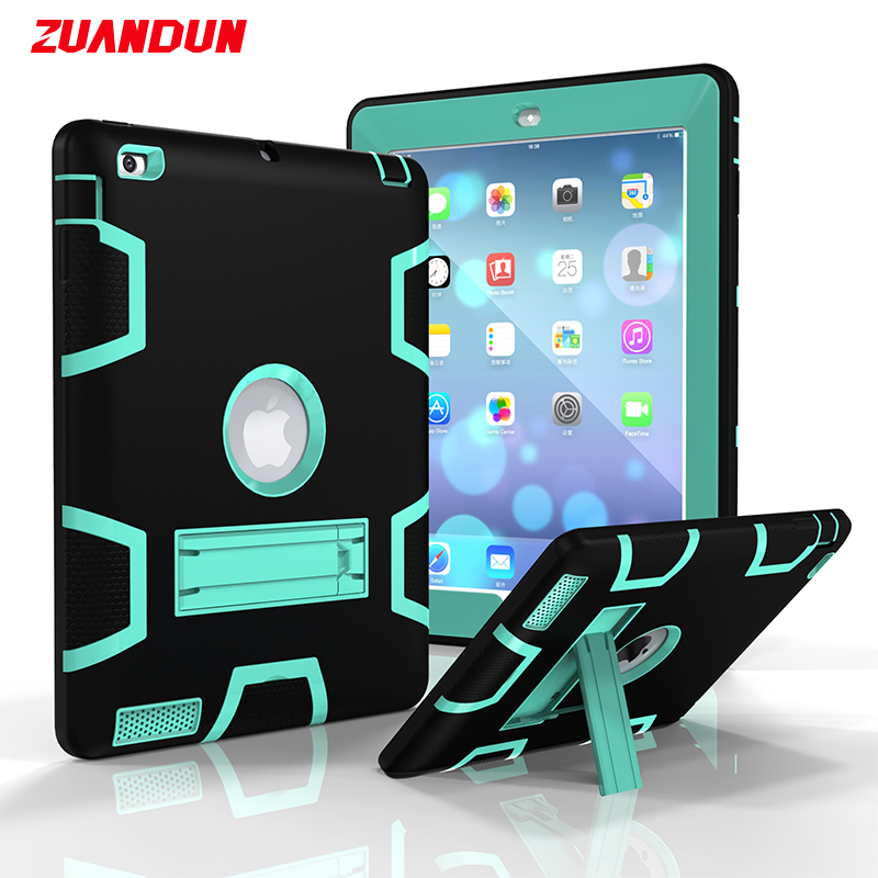ZUANDUN Shockproof Case For iPad 2 3 4 Full Cover Silicone TPU Hybrid PC Stand Armor Protection Case For iPad 4 Tablets Cases for amazon 2017 new kindle fire hd 8 armor shockproof hybrid heavy duty protective stand cover case for kindle fire hd8 2017