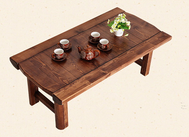 Japanese Antique Low Table Wooden Rectangle Folding Legs Asian Furniture  Traditional Living Room Solid Wood Table