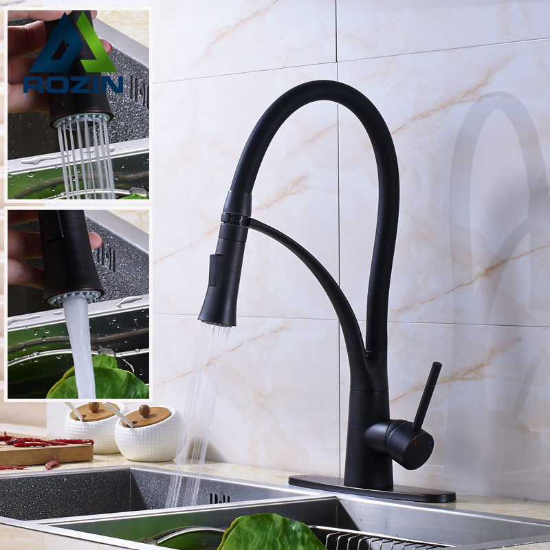 Oil Rubbed Bronze Kitchen Sink Mixer Faucet Pull Down with 10 Cover Plate Kitchen Washing Mixer Crane Tap allen roth brinkley handsome oil rubbed bronze metal toothbrush holder