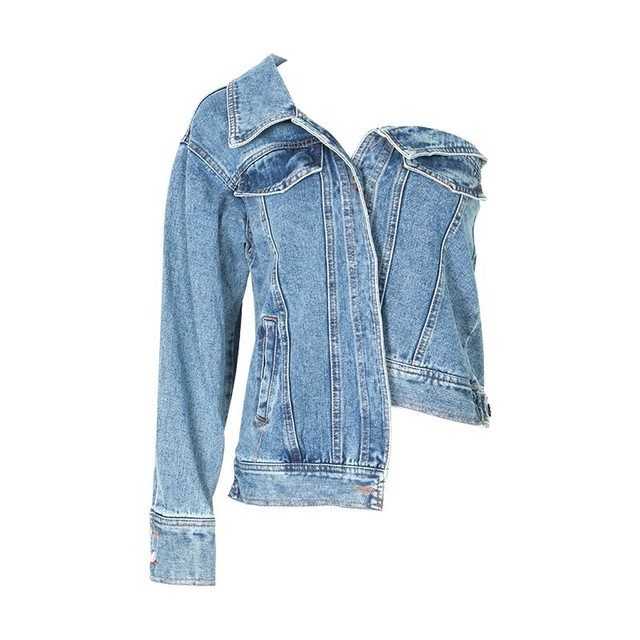 TWOTWINSTYLE Casual One Shoulder Denim Jacket For Women Lapel Long Sleeve Button Side Split Coat Female Fashion Summer 2019 4