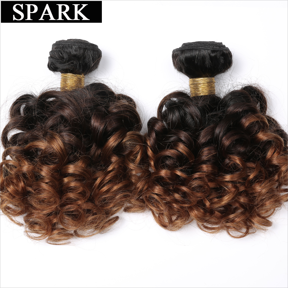 Spark Brazilian Bouncy Curly Human Hair Bundles 1/3/4pcs Ombre Color Medium Remy Human Hair Extensions Curly Hair Weave Bundles
