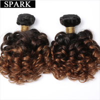Spark Brazilian Bouncy Curly Hair Bundles 1/3/4pcs 1B/4/30&27 Ombre Color Remy Human Hair Extensions Curly Hair Weave Bundles