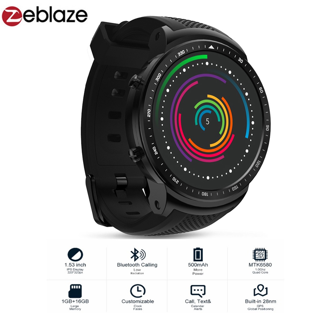 Zeblaze THOR PRO 3G Phone Android Smart Phone Watch Men MTK6580 Sports Bracelet 1GB+16GB GPS Touch Screen Bluetooth Smartwatch zeblaze zeband plus smart bracelet blue