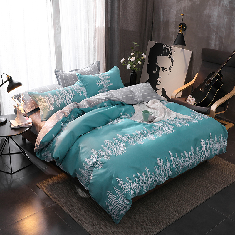 Home Textile King Queen Twin Bed Linen Girl Kid Teen Bedding Set white blue Leaf Duvet Quilt Cover Pillowcase Flat Bed Sheet