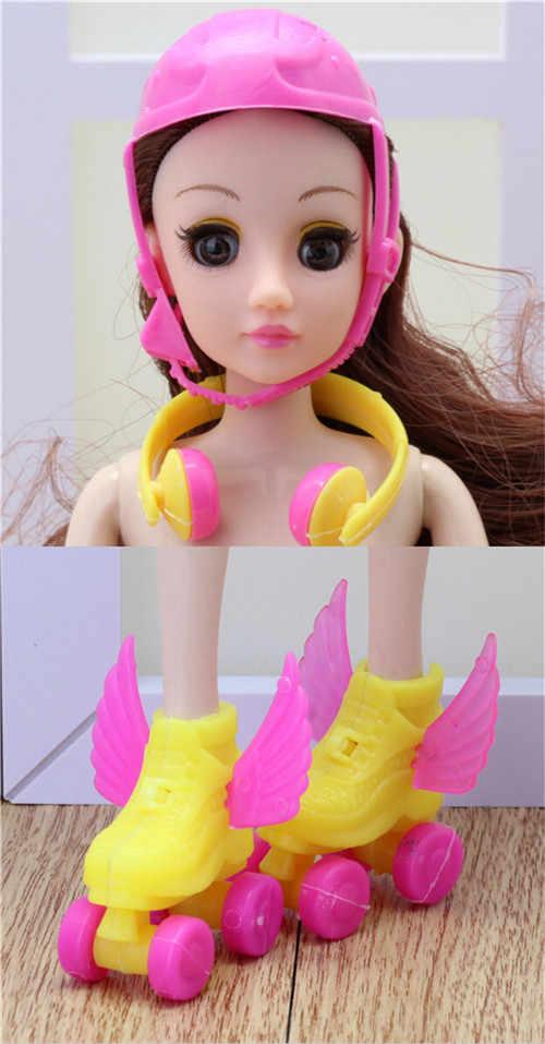1 комплект, декорирующий валик, обувь для катания на коньках + гарнитура + шлем для детей, игрушки для девочек, роликовые игры