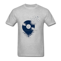 Cotton Shirts Teenage Natural Cotton Vinyl Record Short Sleeve T Shirts Comfortable Birds Men Large Size