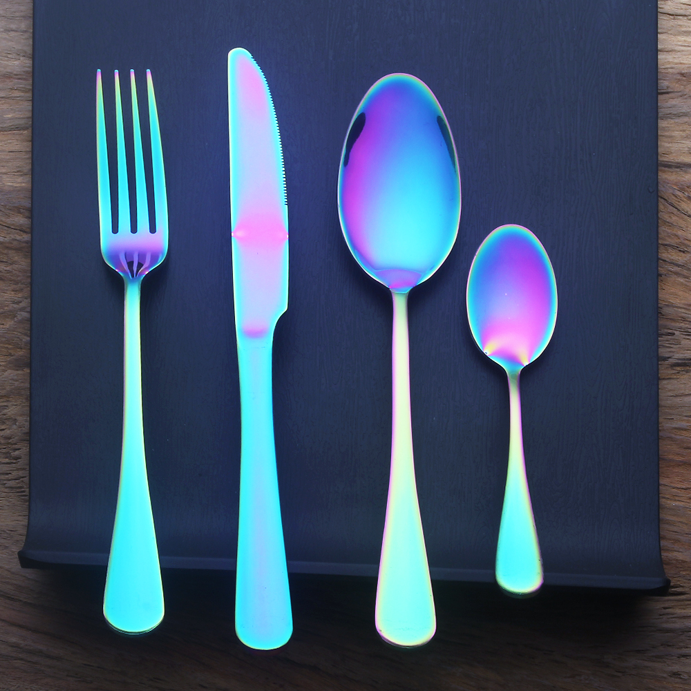 4 8 16 24 Pieces Rainbow Dinner Set Wedding Travel Cutlery Set 18/10 Stainless <font><b>Steel</b></font> Dinner Knife Fork Scoops Silverware Set
