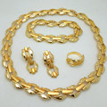 2016 Fashion African Jewelry Set Nigerian Wedding  gold plated Beads Jewelry Set Bridal Necklace Earrings Bracelet