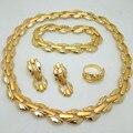2016 Joyería De Moda Africana de Nigeria Boda Perlas chapado en oro de Joyería Nupcial Conjunto Collar Pendientes Pulsera