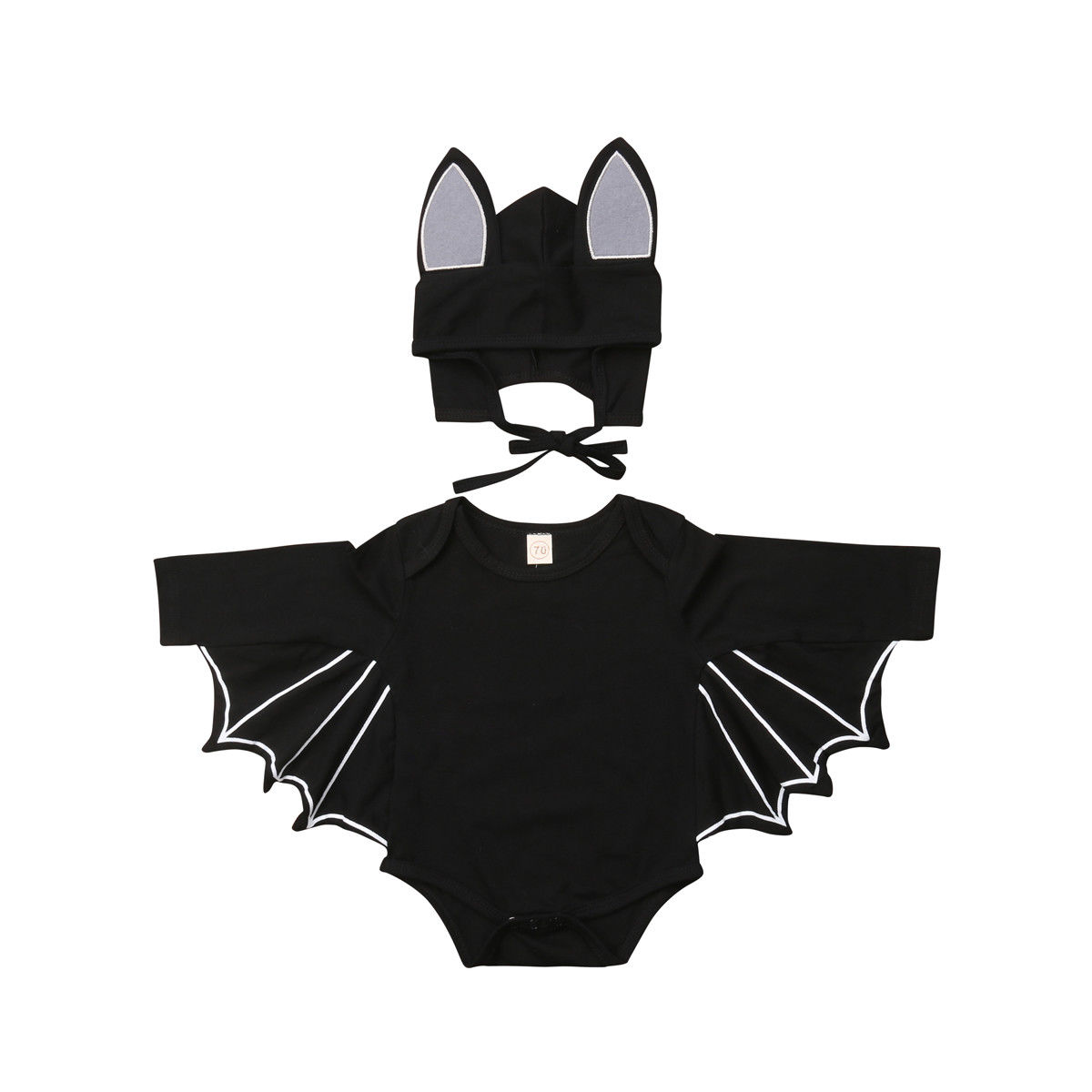 Halloween Newborn Baby Boy Batman Bodysuit Fashion Long Sleeve Cartoon Solid Bodysuit Hat Boys Casual Cotton Bodysuits Outfits trumpet sleeve flounce surplice wrap bodysuit