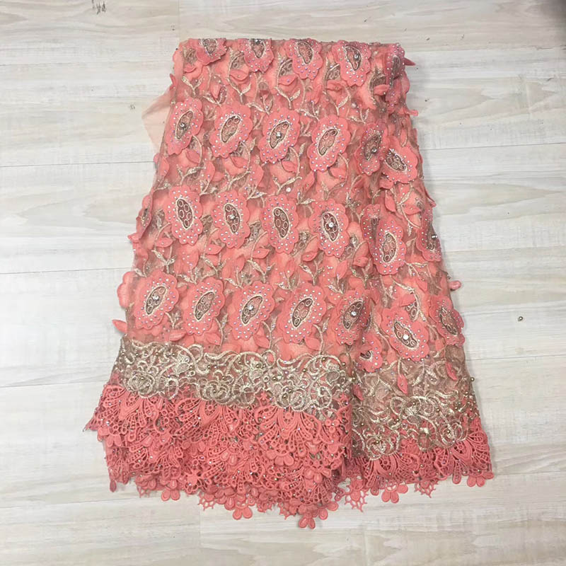 2019 Latest Peach Color French Africa Lace Fabric High Quality African Embroidered Tulle Lace Fabric For