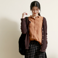 Spring Autumn Women Loose Casual Long Sleeve All match Knitted Cotton Sweater Cardigans