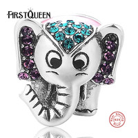FirstQueen Stunning 925 Sterling Silver Lucky Elephant Animal Charm Fit Bracelet Jewelry Making Free Shipping
