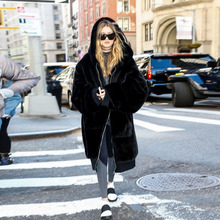 2016 Black Feather Long Faux Fur Coat Long Sleeves With Pockets Thick Warm Fuer Winter Women Dress Down Coat