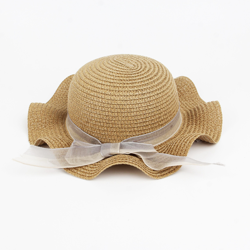 Children's Summer Hat Girls Wrinkle Straw Hat Lace Bow Sun Hat Panama Kid Beach Caps For Child straw preparation Straw Hats L021(China)