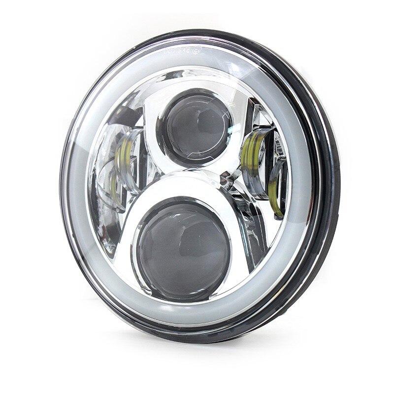 7 Chrome Round LED Headlight Lamp With DRL Angle Eyes Halo For Honda CB 400 CB500 1300 Hornet 250 600 900 VTR 250