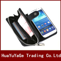 Phone Cases Wallet Folded Bag With Photo Frame Card Slot Cover Zipper Leather Handbag Case For