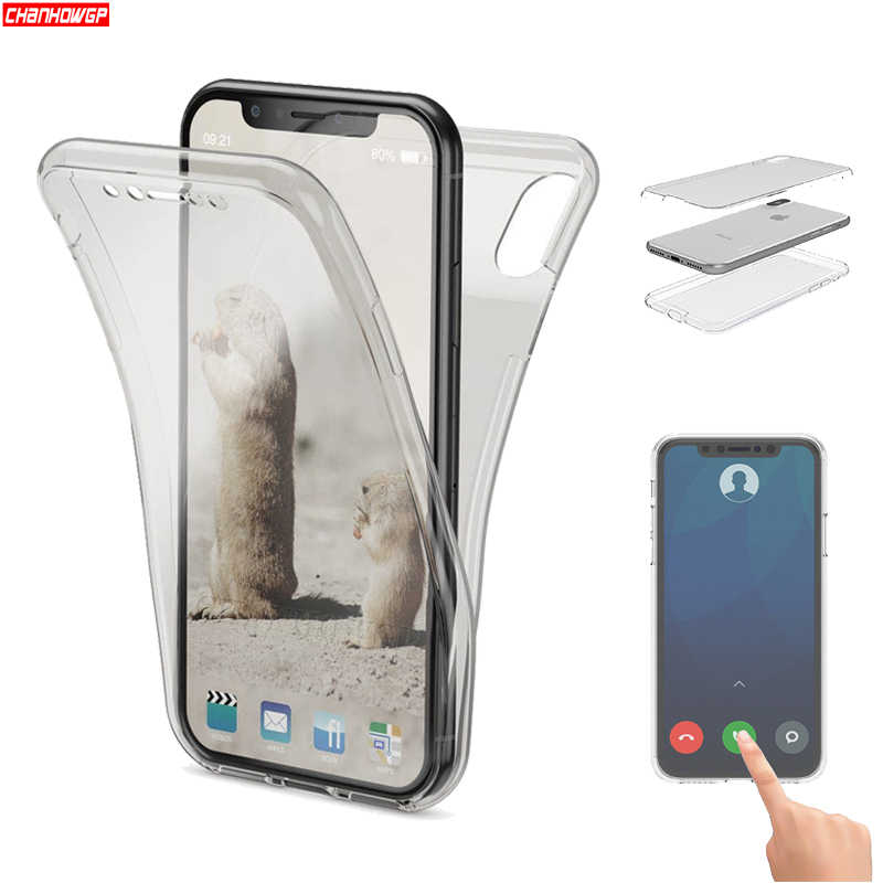 Double Silicon Case For iPhone XS Max XR X Full Cover Case For iPhone 6 6S 7 8 Plus 5 5s SE 10 Screen Protector Soft TPU Funda