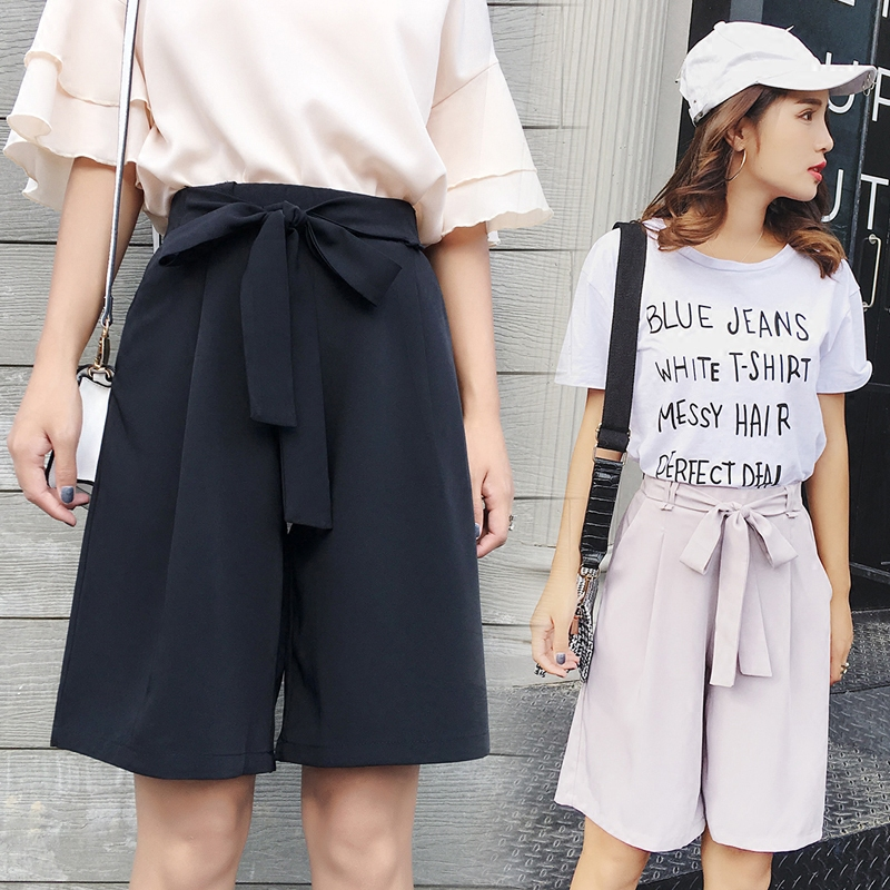 Summer women's suit wide-leg   shorts   women's thin section with casual   shorts   elasticated high waist five-point wide-leg   shorts