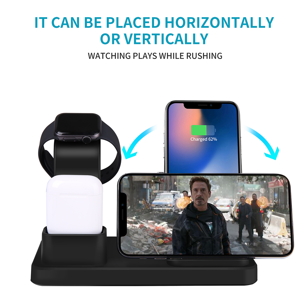 Image 3 - NYFundas Wireless Qi 3 in 1 Phone Holder Charger 10W For Apple Watch Series 4 3 2 Iphone XS Max XR 8 Plus X Iwatch Airpods Dock-in Phone Holders & Stands from Cellphones & Telecommunications