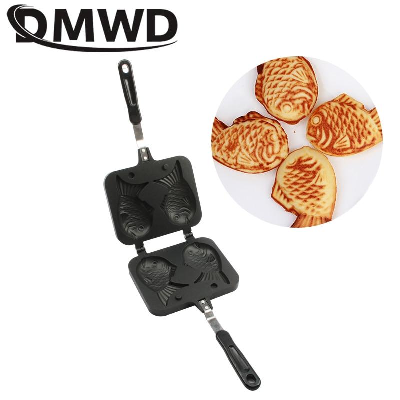 DMWD Japanese Fish-Shaped Cake Bakeware Ice Cream Fish Cone Taiyaki Waffle Grill Pan Gas Use Non-Stick 2 Molds Plate Baking Tool