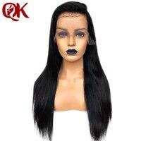 QueenKing волос 180% Плотность 13*3,5 Синтетические волосы на кружеве человеческих волос парики для Для женщин натуральный Цвет шелковистой прямо б