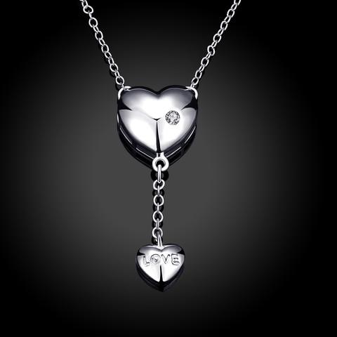 Купить женское ожерелье с кулоном в виде сердца кристаллами