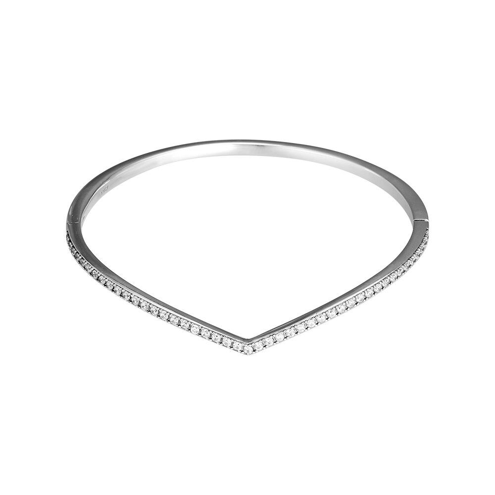 925 Sterling Silver Shimmering Wish Bangle Bracelet Clear CZ Fits for Original Bracelets Jewelry Making