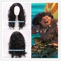 Film Moana Prince Maui Black Fluffy Long Hair Cosplay Curly Wig With Hair Net