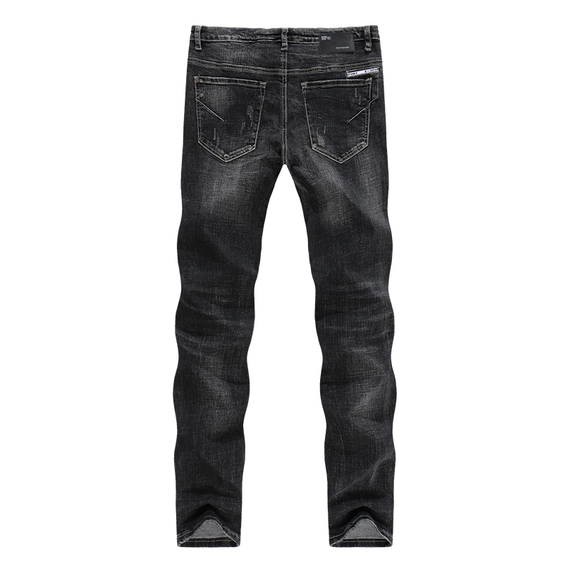 KSTUN Winter Jeans Men Black Jeans Stretch Slim Straight Ripped Hip Hop Distressed Men Jeans High