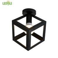 LEDGLE Vintage Ceiling Lamp Fixture Creative Iron Lampshade Simple Flush Mount Lighting with E27 Socket, Black