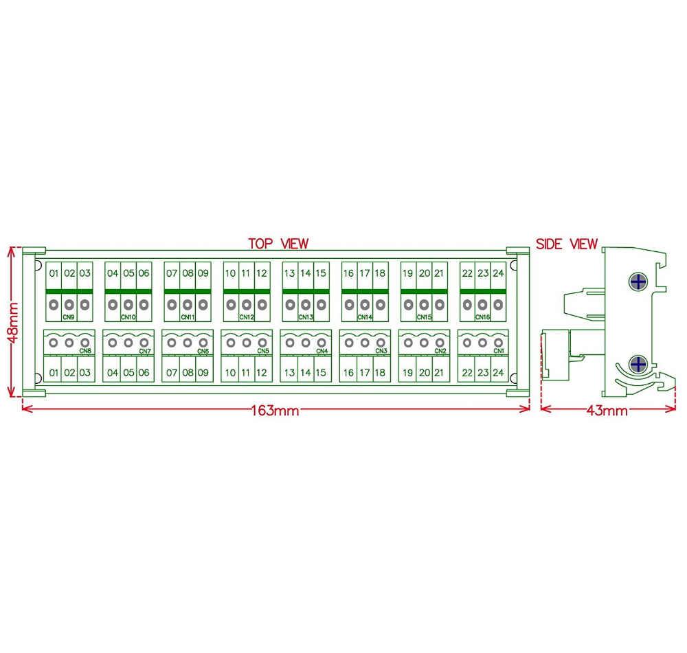 Elektronik-Salon DIN Rail Mount Dapat Dimasukkan 8X3 Posisi 10A/300 V Blok Terminal Sekrup Distribusi Modul. (Atas Kawat Terhubung)