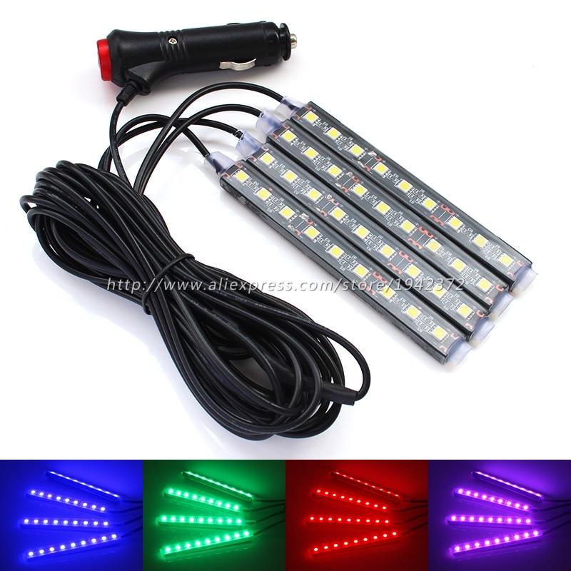 Αυτοκίνητο RGB Λάμπα διακόσμησης LED με μπλε τσιγάρο / λευκό / ροζ / παγωτό εσωτερικού χώρου διακοσμητικά φώτα λωρίδα για όλα τα αυτοκίνητα