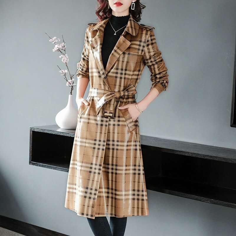women   trench   coat long winter spring coat women overcoat Pocket belt Long Outwear plaid waterproof autumn coat women Oversize