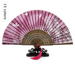 Free Shipping 1pcs Flower Butterfly Pattern 100% Silk Hand Fan with Tassel Christmas Gift Halloween Decoration Party Decoration