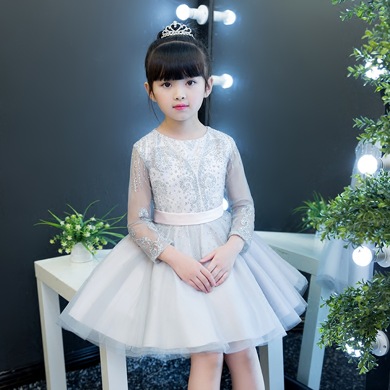 Children Girls Luxury Elegant Long Sleeves Princess Evening Party Dress Kids Babies Birthday Wedding Siliver Ball Gown Dress