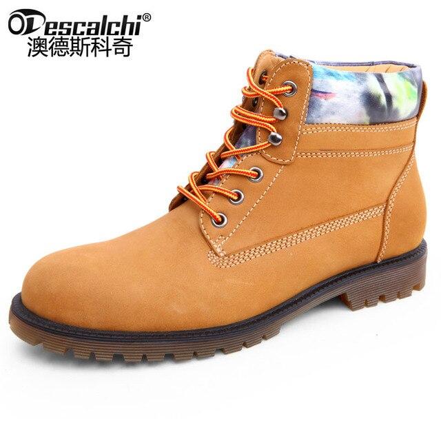 36f75329 Odescalchi желтые ботинки мужские высокие классические модные рабочие  ботинки натуральная кожа зимние с круглым носком обувь