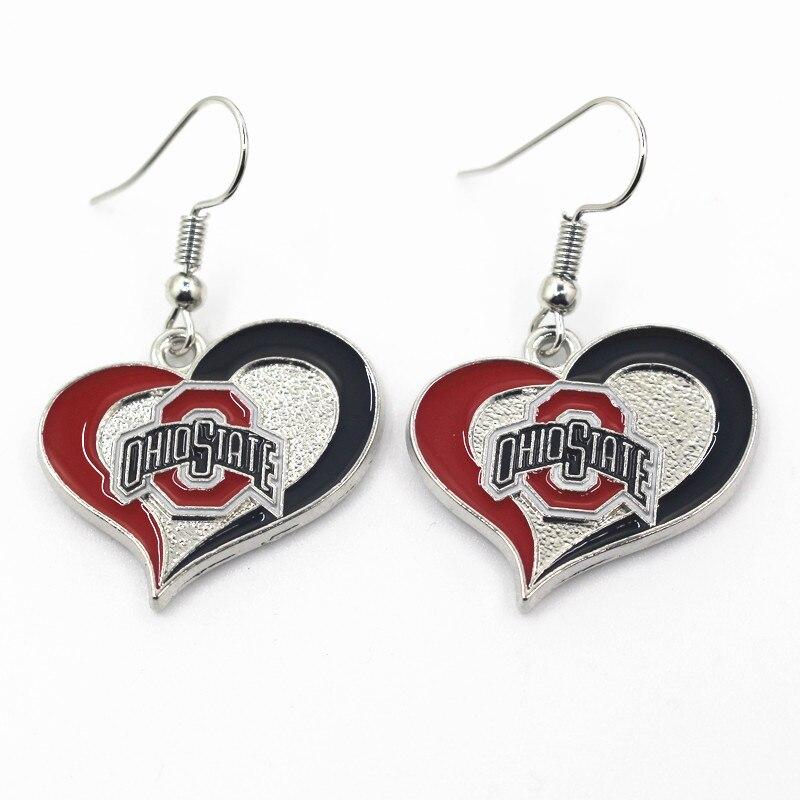 Wholesale NCAA 6 pair/lot America Footbal Earring Jewelry Team Ohio State Sports Earring for women earrings Jewelry