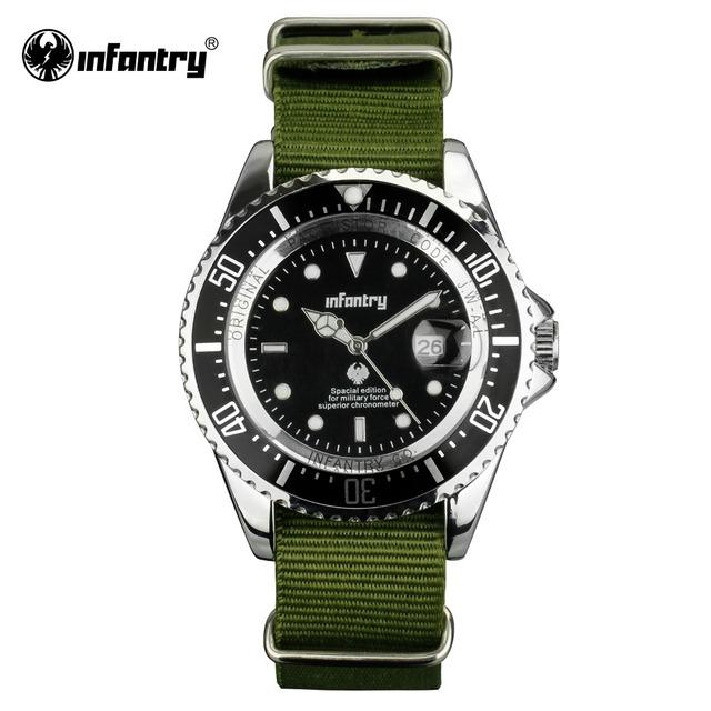 Homens De Quartzo-relógios de INFANTARIA G10 Verde Durável Tecido de Nylon Militar Relógios Relojes Auto Data Esporte Relógios Masculino Relógio Luminoso