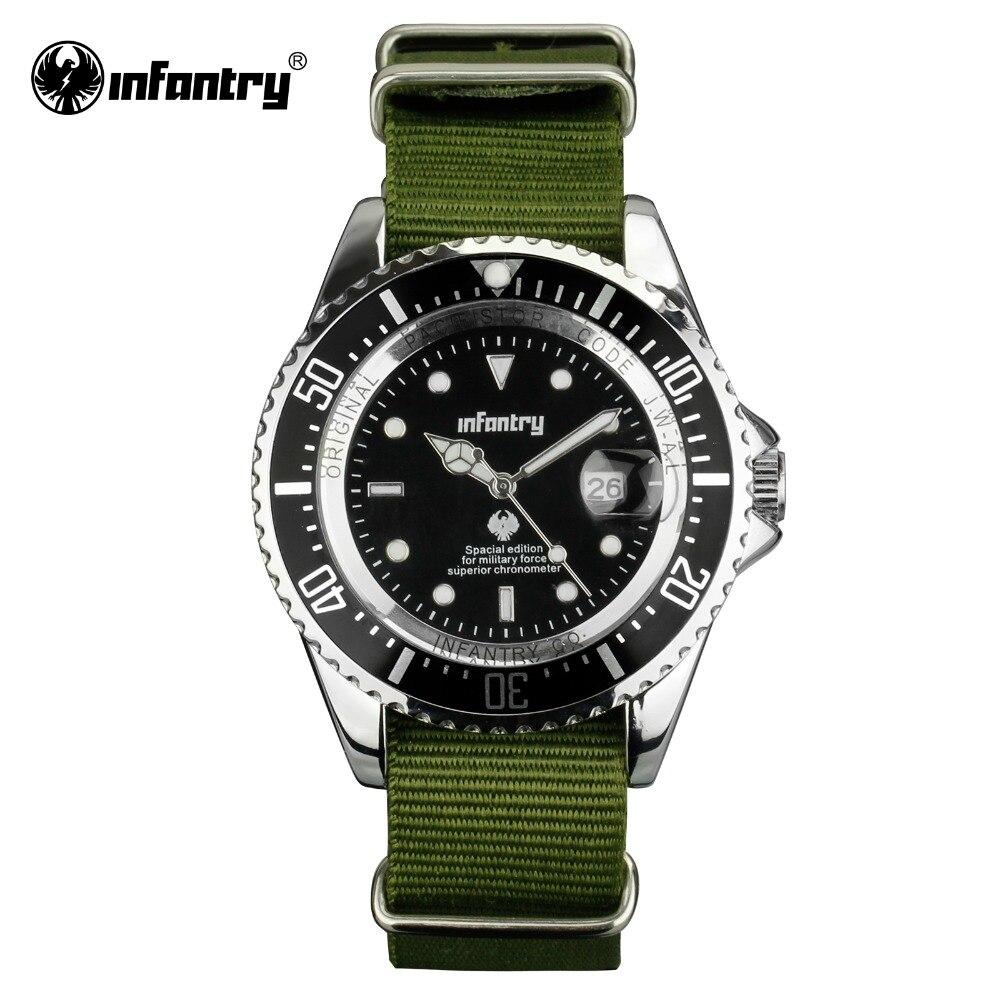 Prix pour INFANTRY Hommes Quartz-montres Vert Durable G10 Nylon Tissu Militaire Montres Montres Date Automatique Lumineux Sport Montres Homme Horloge