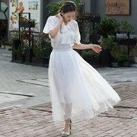 High quality 2 Layer Mesh Maxi Skirt Women Long Tulle Skirt Pleated TUTU Skirts Womens Lolita Petticoat Bridesmaids Midi Skirt