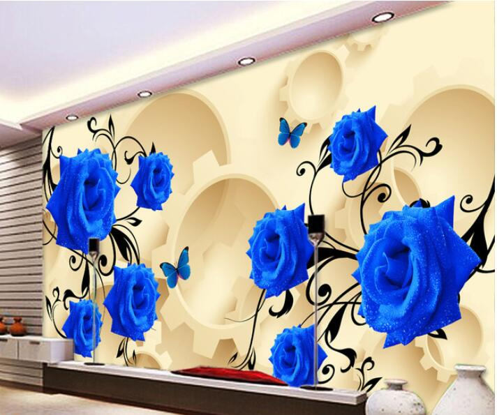 3d wallpaper custom mural non-woven wall sticker Blue roses round 3 d background wall painting photo 3d wall murals wall paper custom 3d photo wallpaper mural nordic cartoon animals forests 3d background murals wall paper for chirdlen s room wall paper
